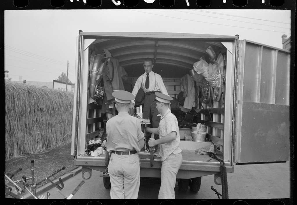 Untitled photo, possibly related to: Interior of truck used for transportation of band instruments, Crowley, Louisiana