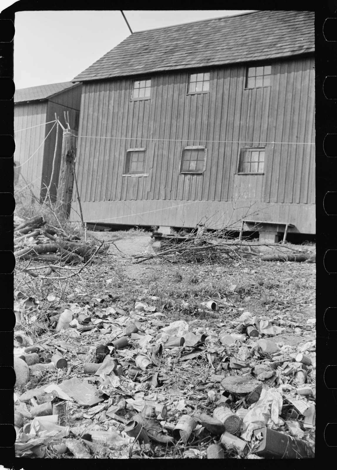 Untitled photo, possibly related to: Shack in which families of cranberry pickers are crowded together, Burlington County, New Jersey