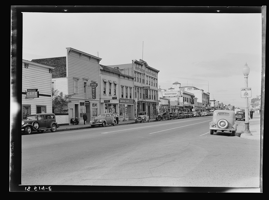 Up the main street of a valley town. Gilroy, California