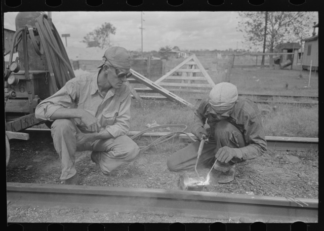 Welding on railroad near Port Barre, Louisiana