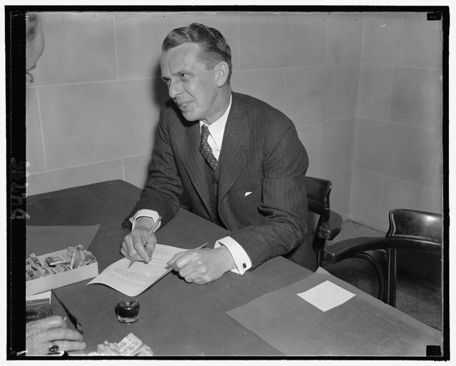 Wesley A. Sturgis, Exec. Director of the Distilled Spirits Institute, Oct. 25, 1938