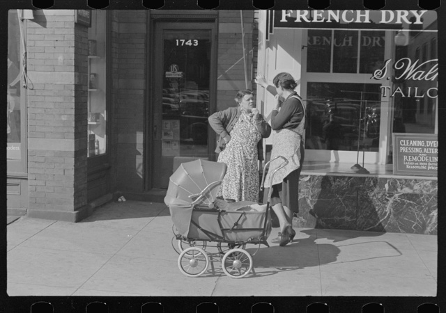 Women with baby carriage, L Street, Washington, D.C.