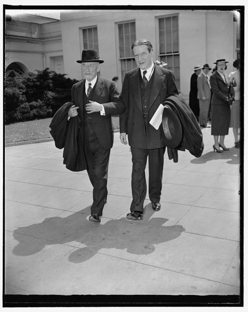 Aid to refugees mapped at White House. Washington, D.C., April 13. Henry Morgenthau, left; and Rabbi Stephen S. Wise, shown leaving the White House after conferring with President Roosevelt on plans to assist political refugees from Germany and Austria to find new homes, 4/13/38