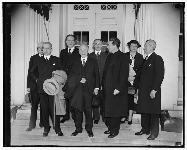 Aid to refugees planned at White House. Washington, D.C., April 13. Experts on the refugee problem shown leaving the White House today after conferring with President Roosevelt, the group met with the President to go over preliminaries to an international conference to help political refugees form Germany and Austria, left to right; Prof. Joseph P. Chamberlain, New York, Asst. Sec. of State Messersmith, Rabbi Stephen S. Wise, Henry Morgenthau, Rev. Samuel Cavert, New York, Rev. Michael J. Ready, Sec. of Labor Frances Perkins, and Lewis Kenedy, New York, 4/13/38