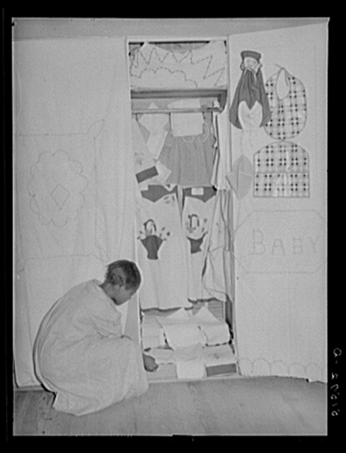 A display of sewing and needle work made by NYA (National Youth Administration) girls in school home economics room. Gee's Bend, Alabama