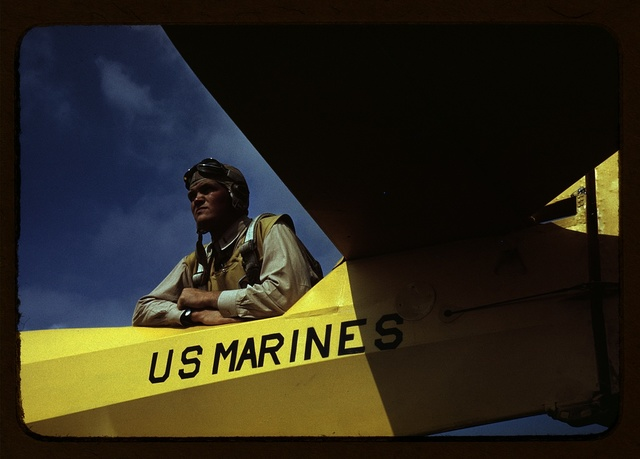 A marine glider pilot in training, a lieutenant, at Page Field, Parris Island, S.C.