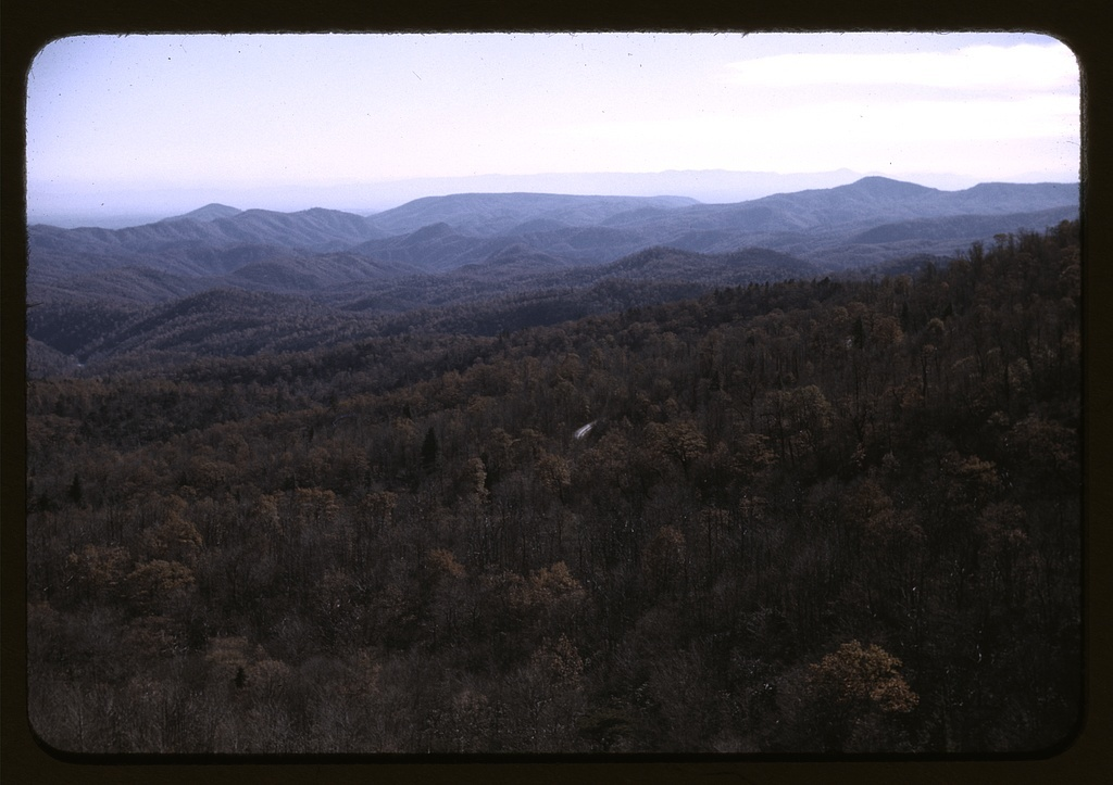 A view of the mountains along the Skyline Drive in Virginia