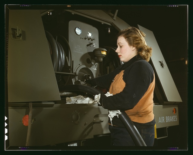 Agnes Cliemka, age 23, married and husband may be going into the service any day, Heil and Co., Milwaukee, Wisconsin. Agnes used to work in a dep[artmen]t store. Checking of gasoline hose of gasoline trailers before being turned over the Air Force