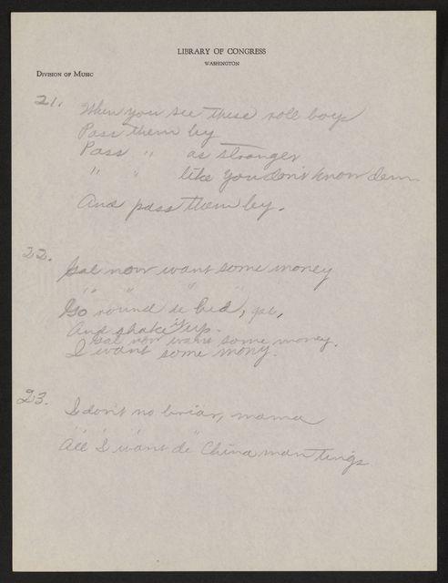 Alan Lomax Collection, Manuscripts, Nassau, Bahamas, 1939 Dec