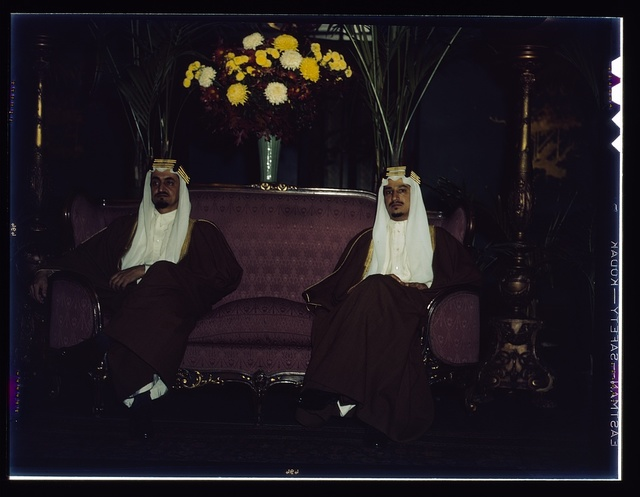 Amir Khalid [right] and Amir Faisal, sons of King Ibn Saud of Saudi Arabia. Their Royal Highnesses recently concluded an extensive visit in the United States as guests of the government. They have made a special study of irrigation projects in the United States. The princes at their own farewell reception in the nation's capital
