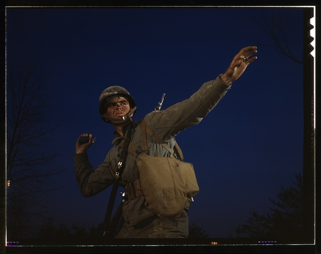 An American pineapple, of the kind the Axis finds hard to digest, is ready to leave the hand of an infantryman in training at Fort Belvoir, Va. American soldiers make good grenade throwers