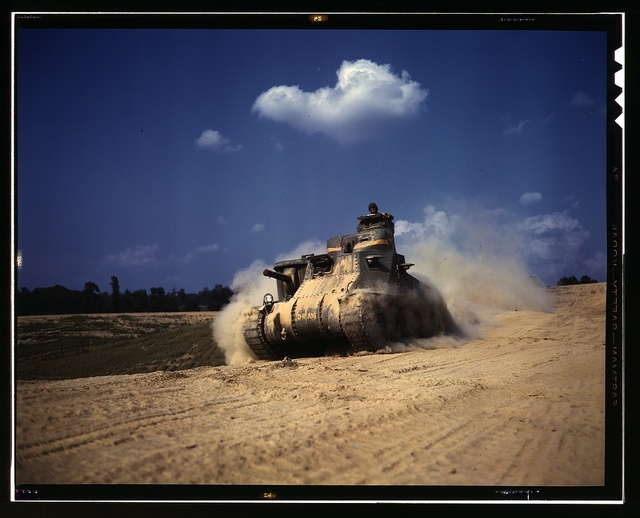 An M-3 tank in action, Ft. Knox, Ky.