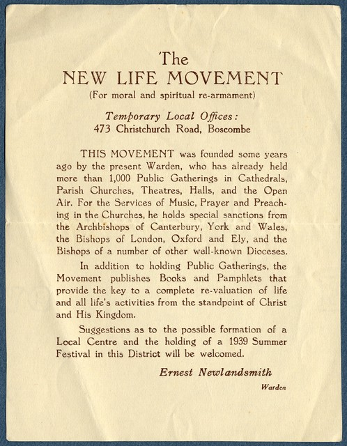 Announcement, The New Life Movement, ca. 1939