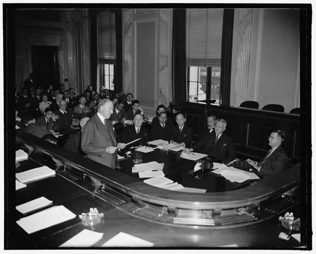 Assistant Secretary of State Before Senate Committee. Washington, D.C., Feb. 21. Appearing before the Senate Territorial and Insular Affairs Committee today, Assistant Secretary of State Francis B. Sayre stated the vital interests of the U.S. in the Far East were concerned in the disposition of the Philippines. Sayre is leading the administration fight for the proposed amendments to the Tydings-McDuffie Independence Act, 2-21-39