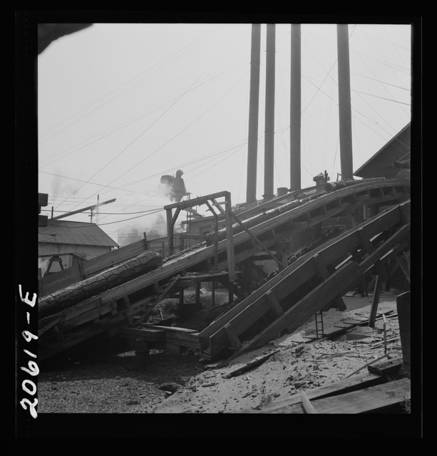 At Pelican Bay Lumber Company mill, showing chute which conveys logs from pond to the saw. Near Klamath Falls, Klamath County, Oregon