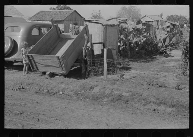 Atmosphere shot of migrant camp, Weslaco, Texas
