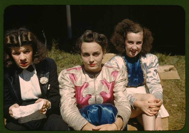"""""""Backstage"""" at the """"girlie"""" show at the Vermont state fair, Rutland"""