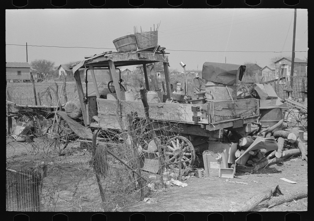 Backyard of Mexican family with old truck, Mexican district, San Antonio, Texas