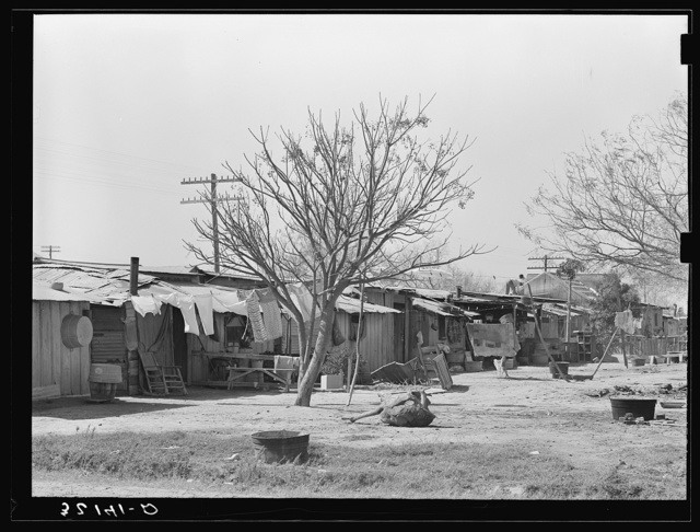 Backyards of Mexican homes. Alamo, Texas