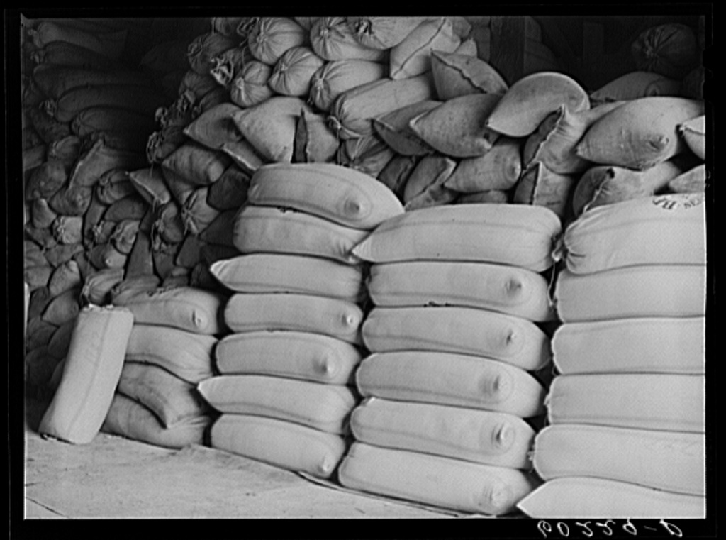 Bags of seed at Border King co-op seed exchange. Williams, Minnesota