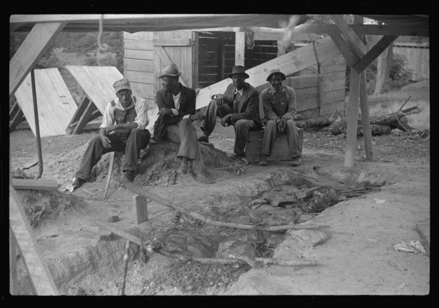 Barbeque picnic on the occasion of the dedication of a FSA (Farm Security Administration) building, Greene County, Georgia