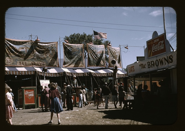 Barker at the grounds of the Vermont state fair, Rutland