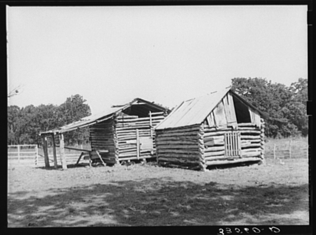 Barns of white tenant farmer. McIntosh County, Oklahoma