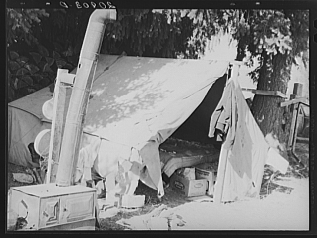 Bean pickers tent, one of fourteen in a group on grower's property, adjoining the bean field. Near West Stayton  Marion County, Oregon. See general caption number 46