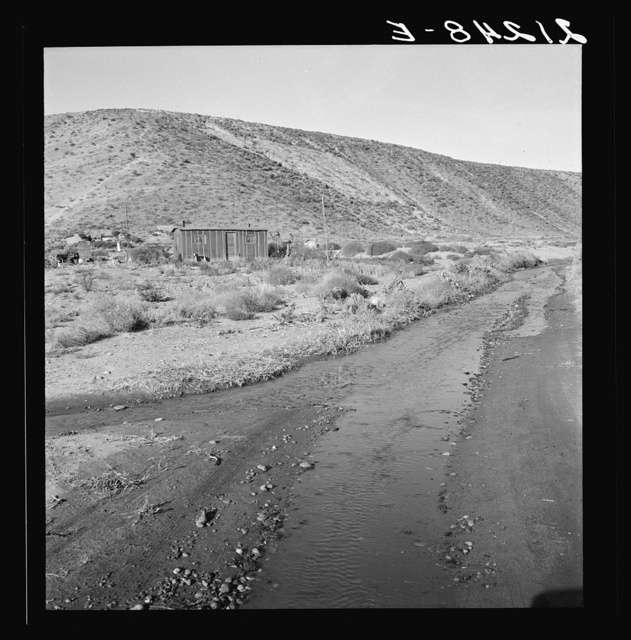 """Below the bench, showing condition of road which leads up to the new farm due to seepage of irrigation water. Family who lives in shack have been in the country one year. """"We're getting along, but it's awful slow."""" Dead Ox Flat, Malheur County, Oregon General caption 67-1"""