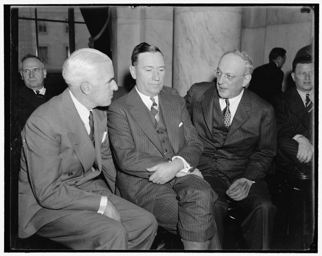 [Big three of U.S. Steel. Washington, D.C., Nov. 2. Interested spectators at today's session of the Monopoly Committee now investigating the $4,000,000[,000?] steel industry were, left to right: Edward R. Stettinius, Chairman of the Board, U.S. Steel Corp., Benjamin F. Fairless, President, and William Beye, Vice President]