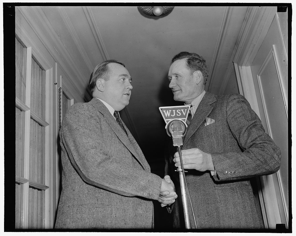 """Big train"" in new role. Washington, D.C., March 17. Walter Johnson, Washington Senators' pitching star for many years, has been signed by Columbia Broadcasting system to broadcast the home games of the Washington team this summer. He succeeds Arch McDonald who will air the Yankees and Giants games from New York, 3-17-39"