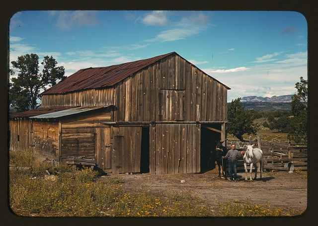 Bill Stagg, homesteader, in front of his barn, Pie Town, New Mexico
