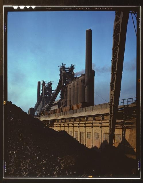 Blast furnaces and iron ore at the Carnegie-Illinois Steel Corporation mills, Etna, Pennsylvania