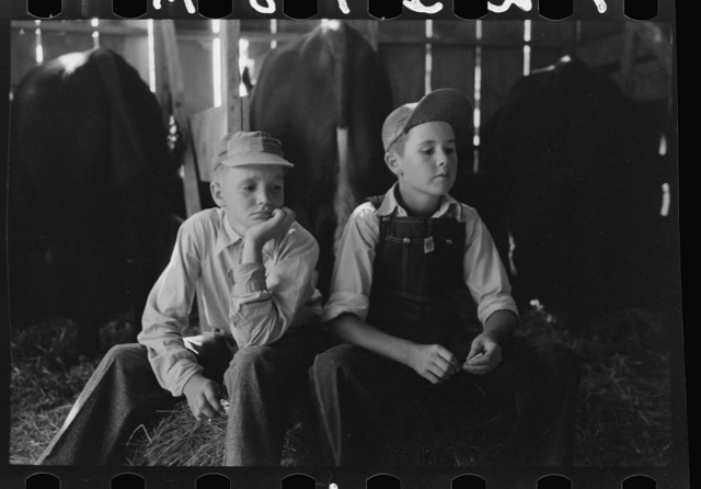 Boys at 4-H club fair, Cimarron, Kansas
