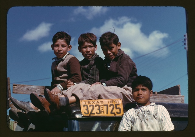 Boys sitting on truck parked at the FSA ... labor camp, Robstown, Tex.