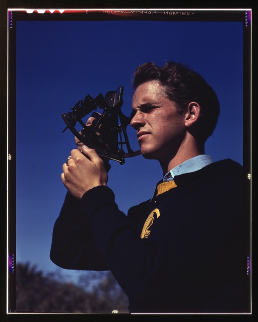 Boys trained in the fundamentals of navigation may become technicians in the armed service, Los Angeles, Calif. Thomas Graham, a member of the Victory Corps at Polytechnic High School, is learning to use a sextant to determine longitude and latitude