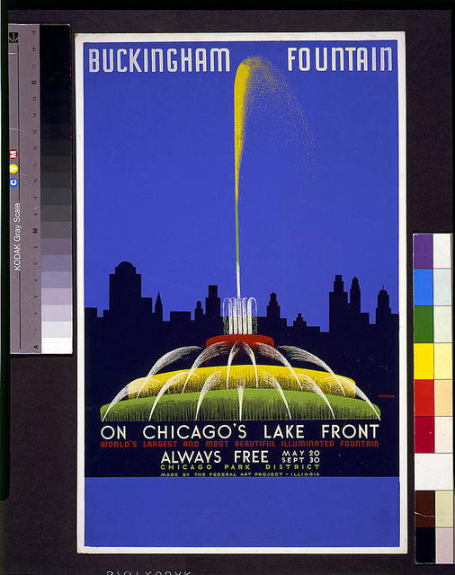 Buckingham Fountain on Chicago's lake front, world's largest and most beautiful illuminated fountain ... / Buczak.