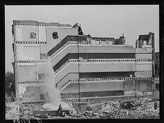 Building which is being torn down to make room for parking lot. Washington, D.C.