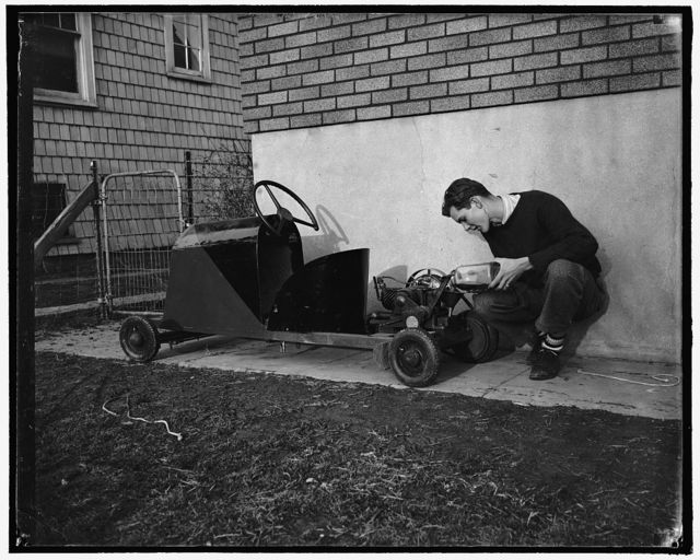 Builds own Jalopy. Washington, D.C., Feb. 2. Thirty dollars was all it cost Robert Preston, 16-year-old high school senior, to build this midget automobile. Weighing approximately 250 pounds, the 'jalopy' is powered with a washing machine motor of 3-4 horsepower and has a maximum speed of 20 miles an hour. His license tags for this year will cost 32 cents, 2-2-39