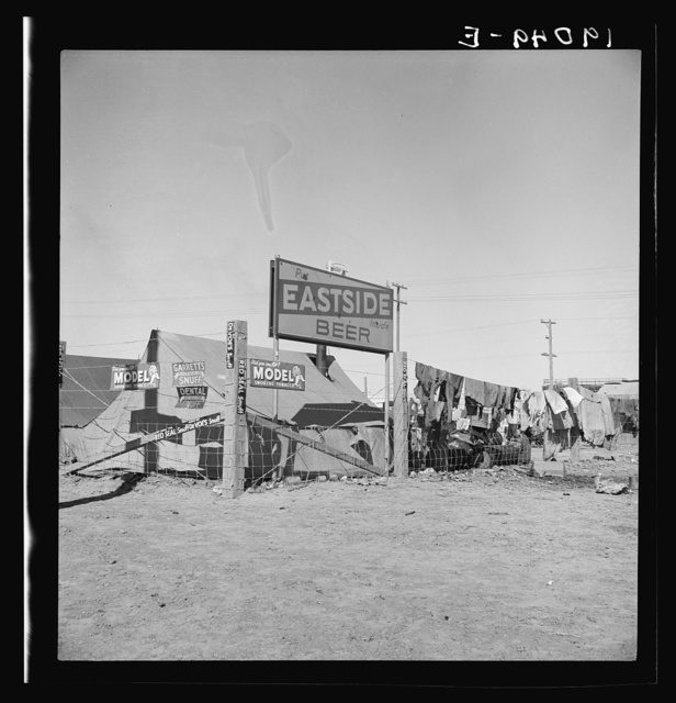 Calipatria, Imperial County. Living conditions for migratory laborers in private auto camp. Tent space fifty cents a week. California
