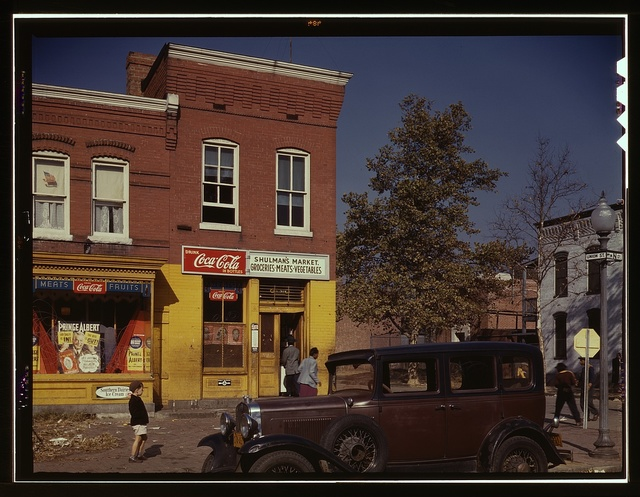 [Car in front of Shulman's Market on N at Union St. S.W., Washington, D.C.