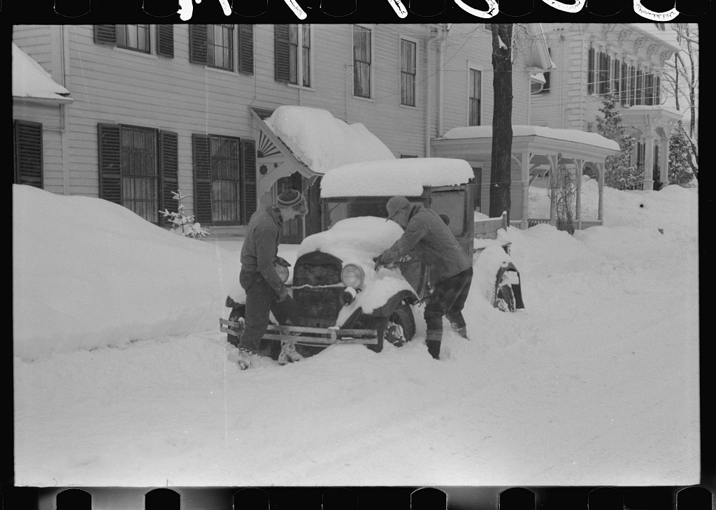 Car stalled after snowstorm, Woodstock, Vermont