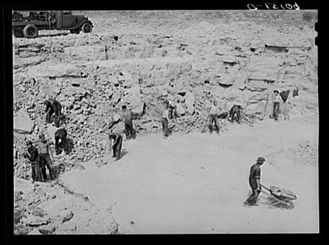 CCC (Civilian Conservation Corps) boys cooperating with Soil Conservation Service working limestone quarry. Vernon County, Wisconsin. Soil tests made show Vernon County to be lime deficient for the satisfactory growing of alfalfa