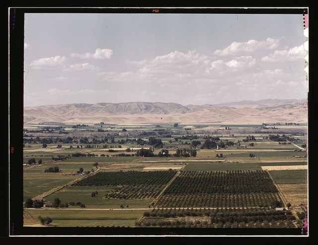 Cherry orchards, farm lands and irrigation ditch at Emmett, Idaho