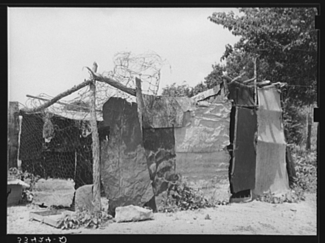 Chicken coop belonging to a WPA (Works Progress Administration/Work Projects Administration) worker who was a farmer until five years ago. Near Webbers Falls, Oklahoma