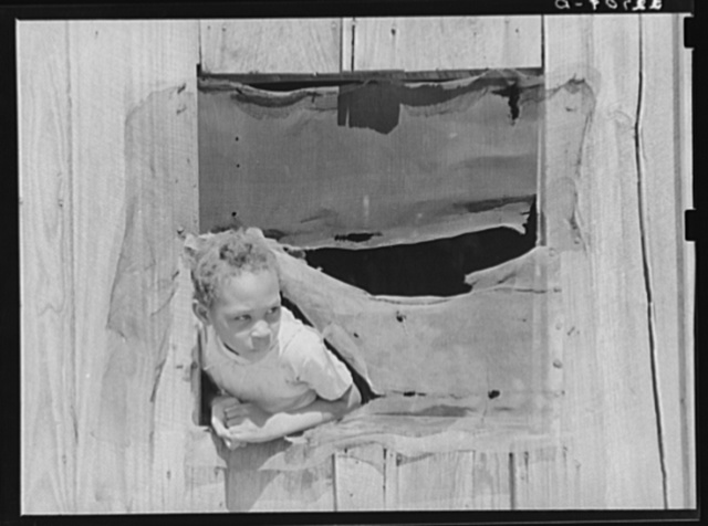 Child of Negro sharecropper looking out window of cabin home. There is a great deal of malaria in this section bad and no screening being a contributing cause. Near Marshall, Texas