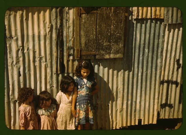 Children in a company housing settlement, Puerto Rico