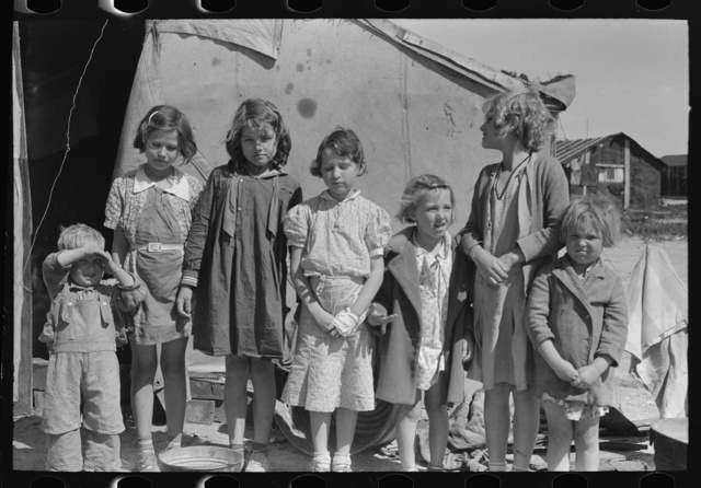 Children of squatters and migrants living on Nueces Bay, Corpus Christi, Texas