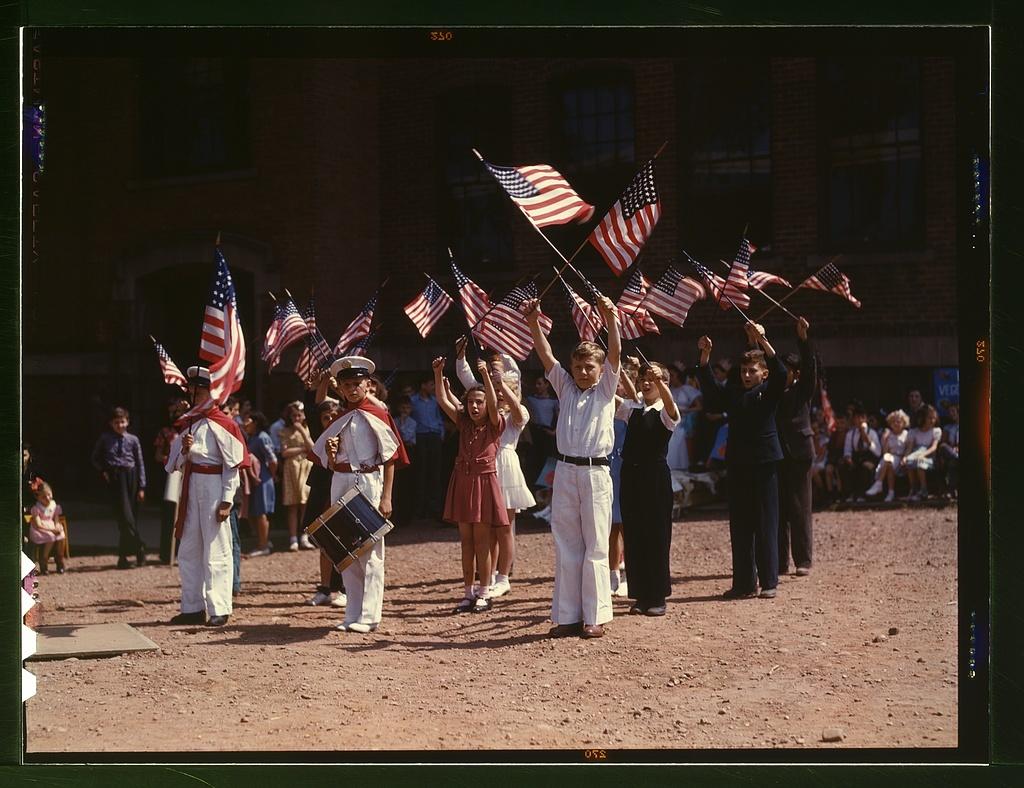 Children stage a patriotic demonstration, Southington, Conn.
