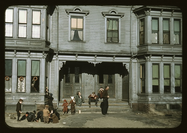 [Children with adult in the tenement district, Brockton, Massachusetts]